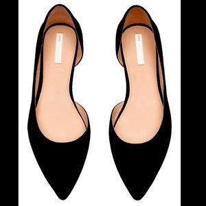 H&M pointed toe flats black womens size 41